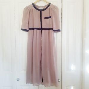 ASOS Empire Waist Dress Rose Beige Button 4